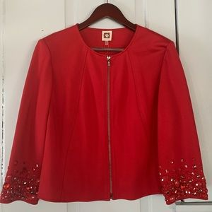 NWT ANNE KLEIN Beaded Sleeve Zip Front Blazer